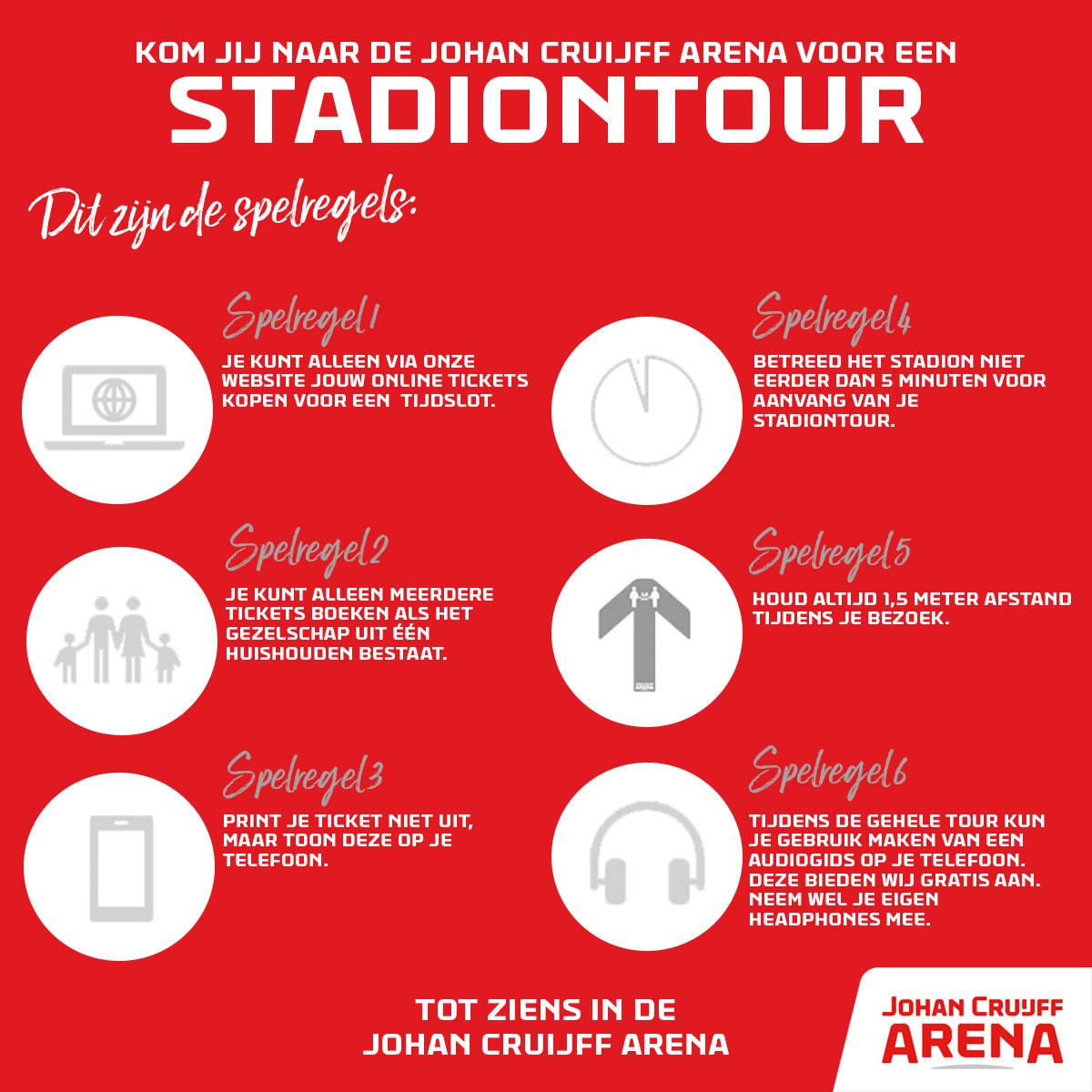 🔜🏟 De Stadiontour gaat maandag van start! Nog héél even geduld en dan mogen we de ArenA lijnen betreden. Check alvast de nieuwe spelregels. 🤓  Scoor als een van de eerste een tour: https://t.co/wr1rflYwt3 https://t.co/4Zcm8GY5dF