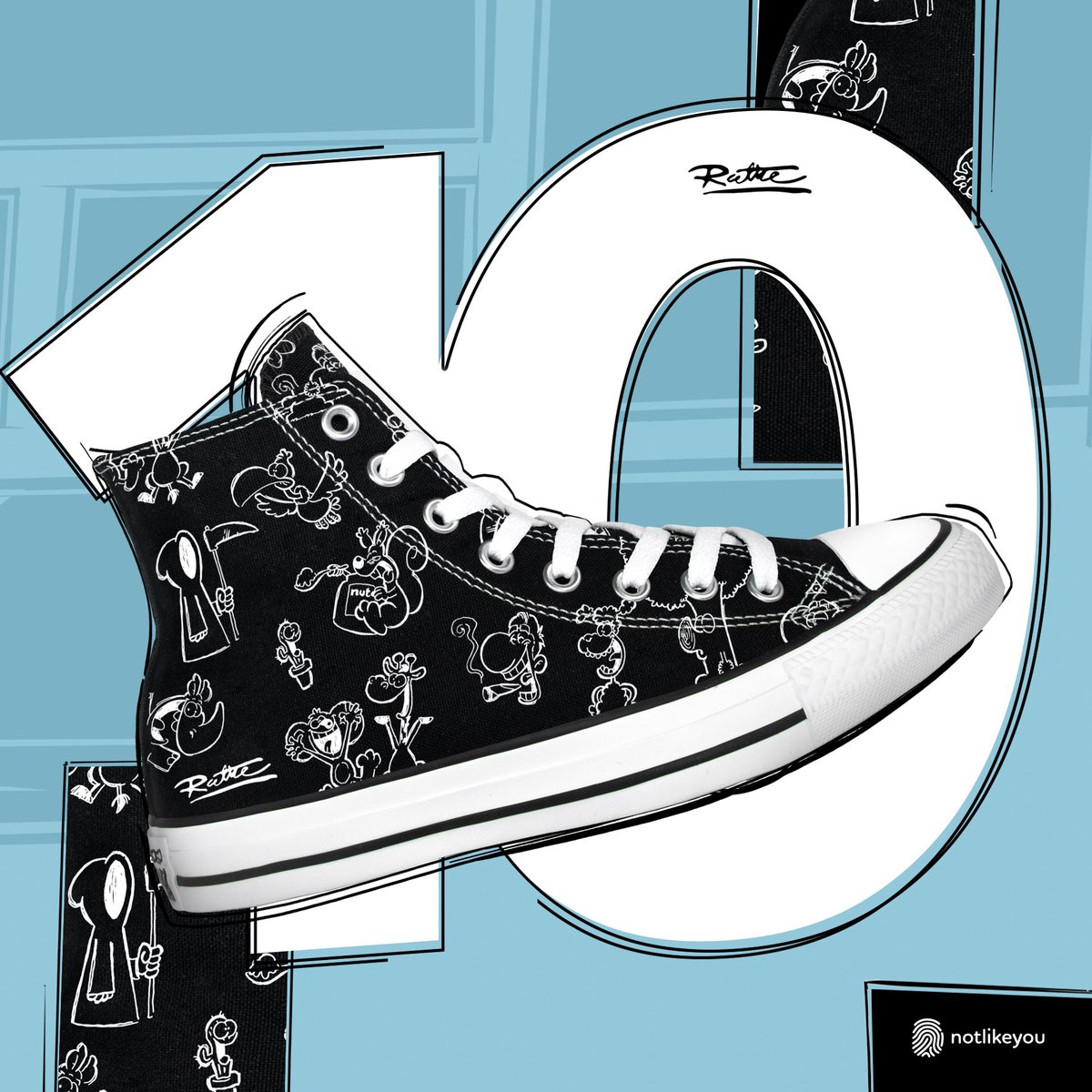 """Sie sind da: Sneaker von Converse im RUTHE-DESIGN! Ihr bekommt sie bei notlikeyou.com - täglich gibt's ein neues Design + an diesem Tag 10% günstiger. Rabattcode: ruthe"""". Heute gibt's Motiv Nr. 10, das wie Motiv Nr. 1 ist, aber invertiert. Hier: notlikeyou.com/de/kollektion/…"""