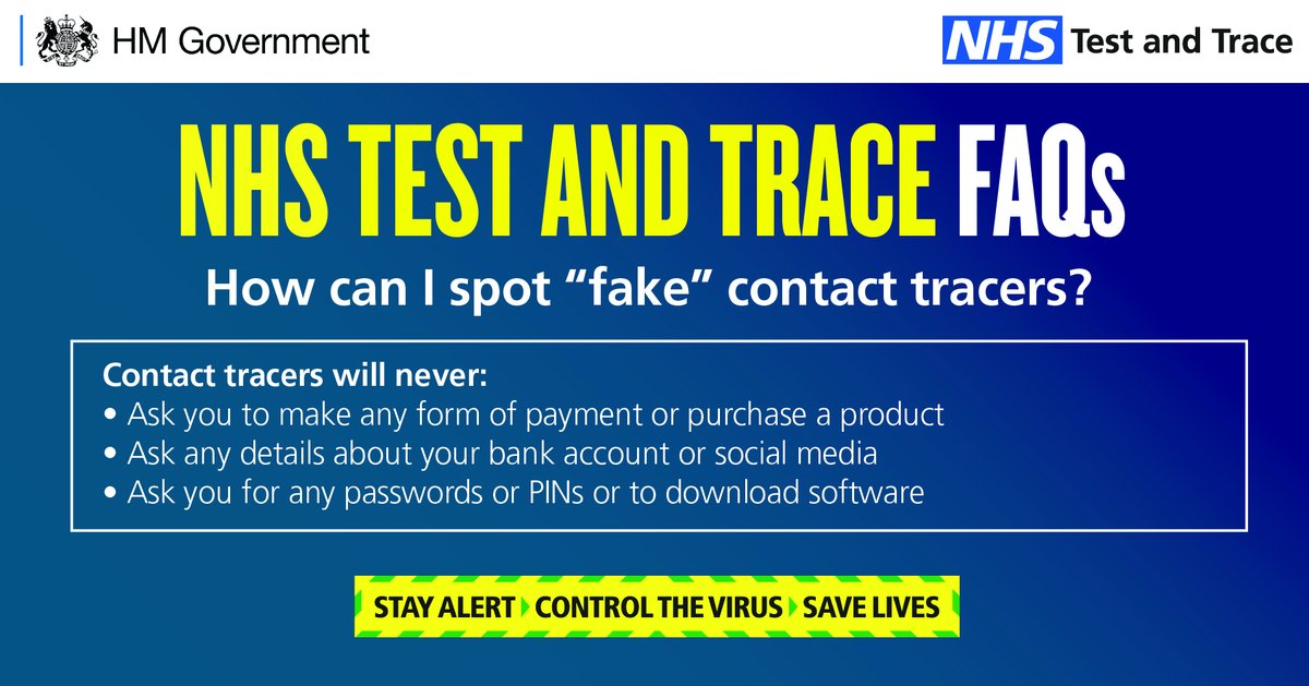 """The NHS Test and Trace service will now start emailing, phoning and texting people who have been in close contact with confirmed coronavirus cases. The team will call from: 0300 013 5000 OR send a text from """"NHS"""" Full info: contact-tracing.phe.gov.uk/help/privacy-n… How to sport a fraud ⬇️"""