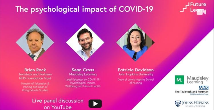 *TODAY* Join us over on the @FutureLearn YouTube channel at 1pm to engage in a discussion on the unprecedented mental strain that #COVID__19 can cause. Chaired by our Dean, Brian Rock & with experts from @maudsleylearn Free to join, sign up at https://t.co/501g3odtYT  @brianmr51 https://t.co/CAzmNtdZCJ