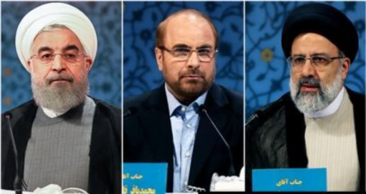 "These 3 ran for #Iran's 2017 presidential elections.  - Rouhani was ""appointed"" President.  - Raisi, notorious for executing 1000s of political prisoners, became Chief Justice. - Now, former IRGC commander Qalibaf has become Parliament Speaker. - The conclusion is yours to make. <br>http://pic.twitter.com/cOXvv7cTY6"