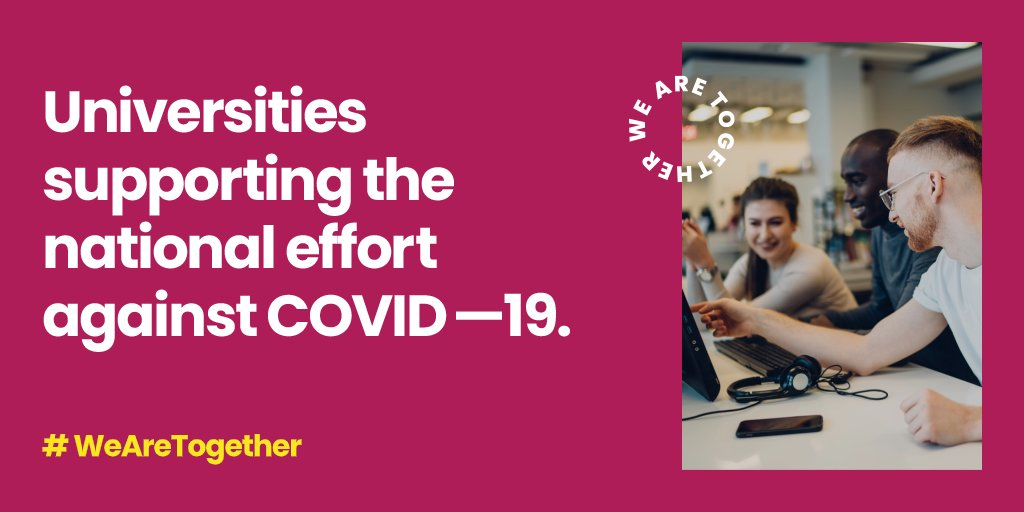 ☘️ Do you know what UK universities are doing to help in the fight against #COVID19 Carrying out medical research; providing equipment, facilities and staff to frontline NHS services; supporting health and wellbeing Discover #WeAreTogether 👉 bit.ly/2SKcmP4