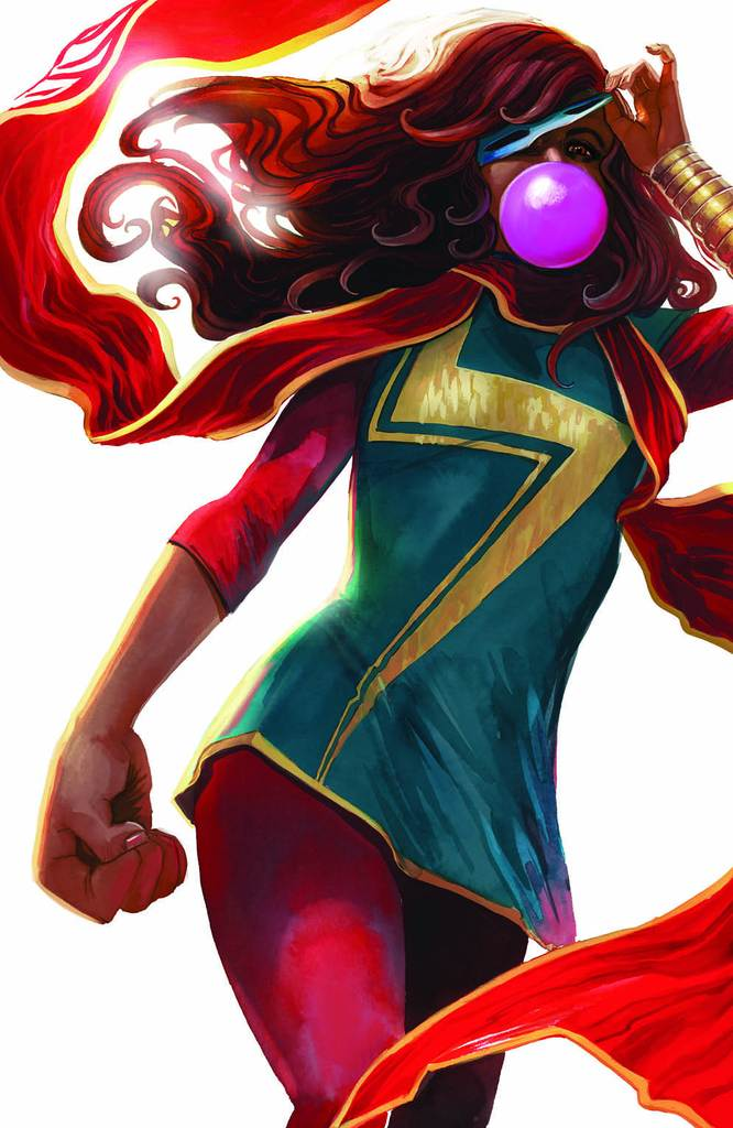 Ms. Marvel Kamala Khan is one of Marvel's premiere new characters.  Her Inhuman shape shifting abilities and true believer enthusiasm for being a hero have already secured Kamala's status as an A-lister. <br>http://pic.twitter.com/3NhHB5lCEA