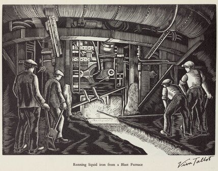 Viva Talbot (1900-1983): amateur artist, & daughter of Benjamin Talbot, M.D of Cargo Fleet Iron Company & the South Durham Steel & Iron Company produced 'Steelmaking' 15 woodblock prints of local scenes rediscovered in 2006 by Dr. Joan Heggie of Teesside Uni. #Industrial #Artpic.twitter.com/AX1siBaNvu