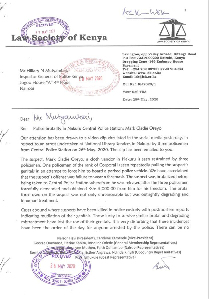 The brutal force used on the suspect was not only unreasonable but was outrightly degrading and inhuman treatment- @NelsonHavi President LSK in a letter to the @IG_NPS on Police brutality in Nakuru Central Police Station; Mark Cladie Oreyo. https://t.co/gQli1ndFcx