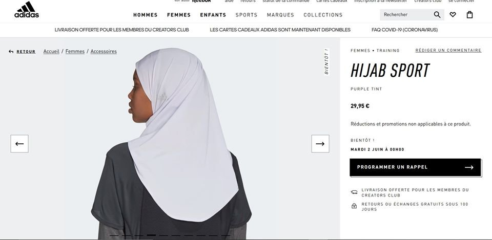 «Pour ne pas se faire distancer par Nike sur le marché du sexisme islamiste, Adidas vient de lancer son hijab de sport. La marque contribue à son tour à la diabolisation des corps des femmes. #boycottadidas #adidas #boycott facebook.com/rassemblementl…