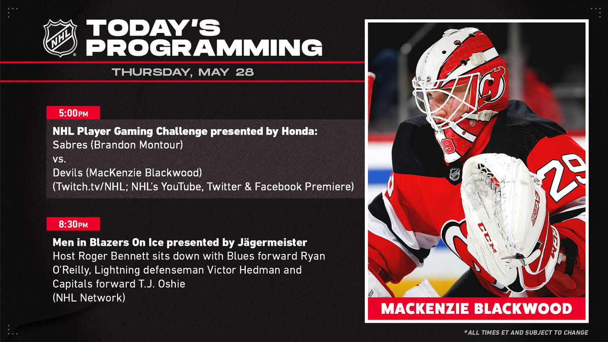 Today's @NHL programming includes a gaming challenge between @MontourBrandon of the @BuffaloSabres and Mackenzie Blackwood of the @NJDevils. 🎮 #HockeyatHome
