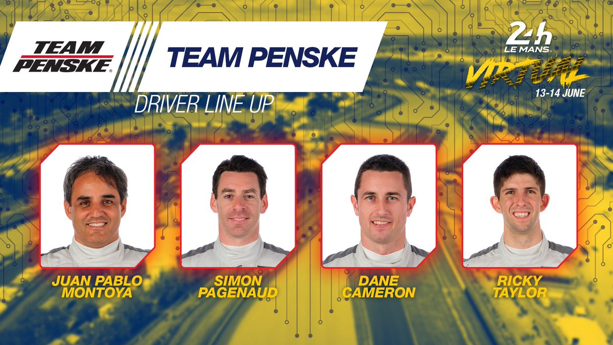 They are coming in hot from the US, please welcome @Team_Penske! @jpmontoya @simonpagenaud @danecameron19 @RickyTaylorRace. Who's next? 🇺🇸  #WEC #LeMans24Virtual https://t.co/N9vONig2M7