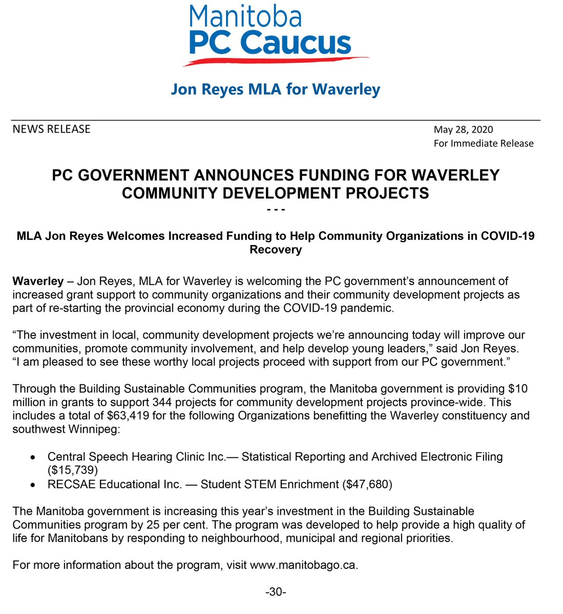 test Twitter Media - The Building Sustainable Communities program is providing $10 million in grants and I am happy to announce local investments in the constituency of Waverley. For more information on grants and other resources go to https://t.co/PbuDozXKWd #community #support #mbpoli https://t.co/MP0qZH9RwL