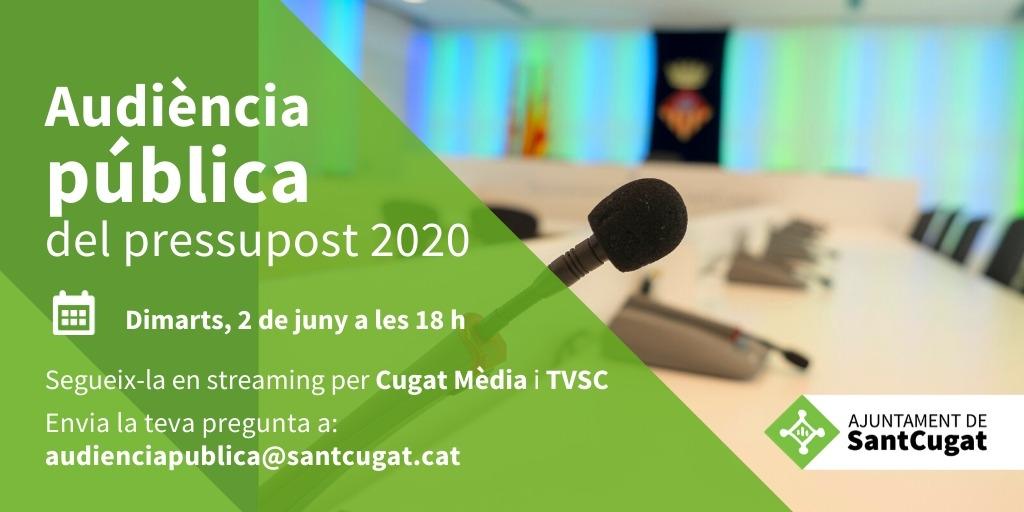 ✅El pròxim dimarts, 2 de juny, es presenten els pressupostos municipals 2020 #SantCugat  🧑💻Podreu seguir l'audiència pública en directe a través de @cugatmedia i @tvsantcugat   🗨️Envieu les vostres preguntes📲audienciapublica@santcugat.cat  @mireiaingla @SolerPere @Nudenu