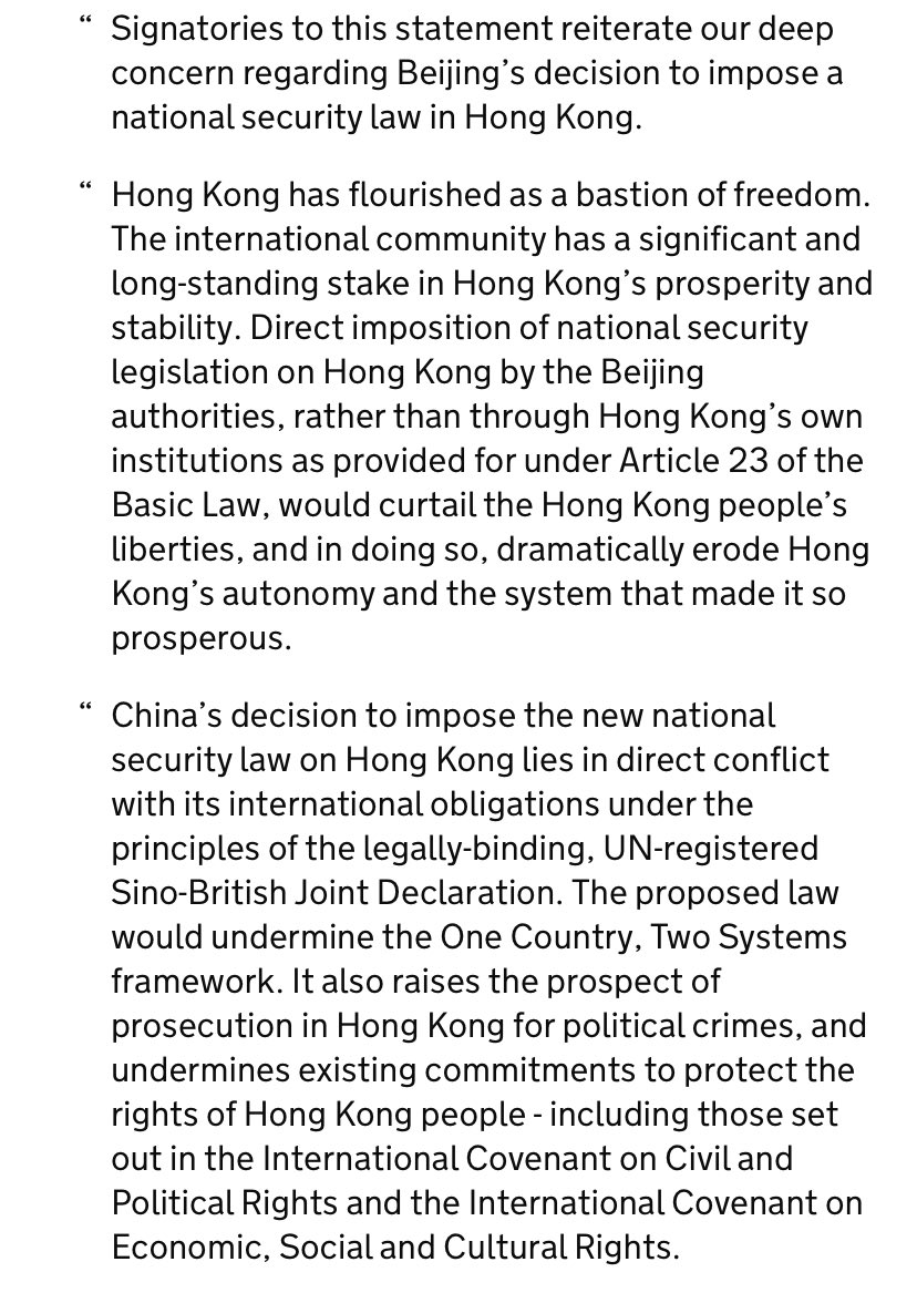 Joint Statement from the UK, Australia, Canada, and United States on Hong Kong  https://www. gov.uk/government/new s/joint-statement-from-the-uk-australia-canada-and-united-states-on-hong-kong  … <br>http://pic.twitter.com/WYmO9OPmG6