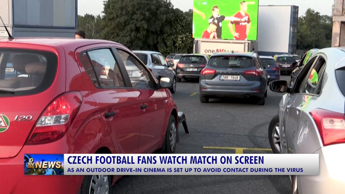 CZECH FOOTBALL FANS WATCH MATCH AT DRIVE-IN CINEMA A drive-in project has given Sparta Prague football fans a chance to cheer for their team together. The Czech top flight resumed last weekend with games played behind closed doors after #Czech #FootballFans #Match #DriveInCinema pic.twitter.com/KSyjhF65sA