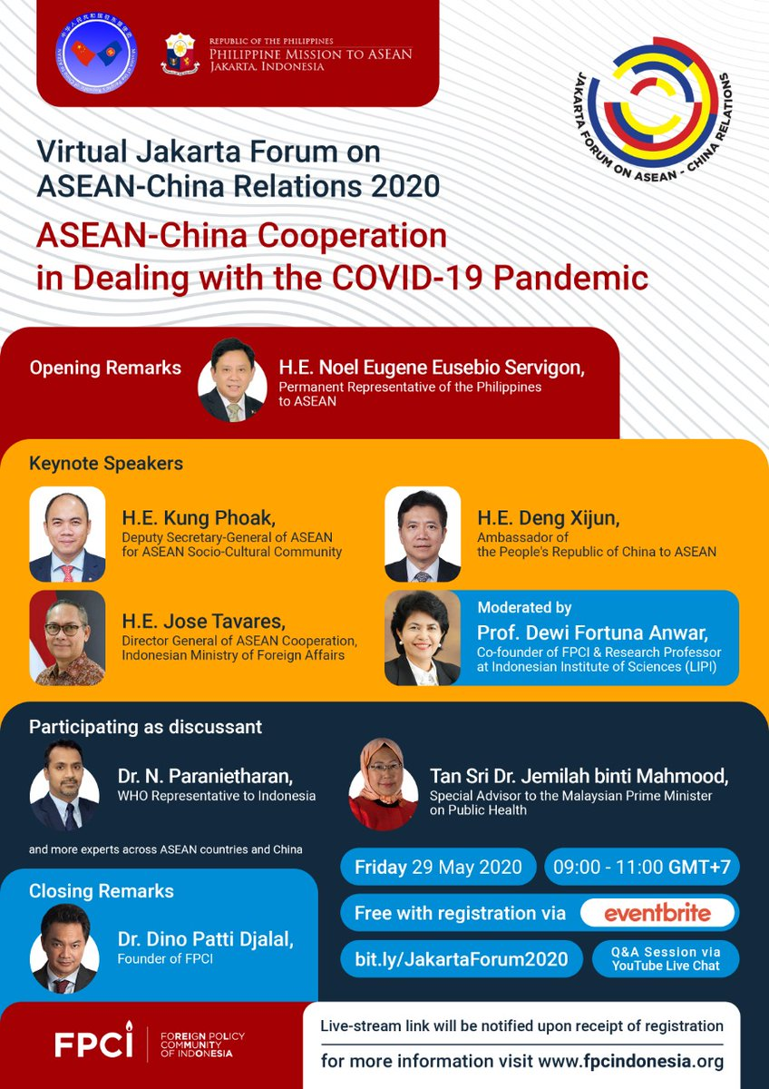 """Tweeps, from the comfort of your home, join our 1st JAKARTA FORUM 2020 """"ASEAN-China cooperation on COVID-19"""" w/ the Chinese Mission TOMORROW morning at 9 am. Hear directly from top level sources. Tell your friends. Register https://t.co/qjCDVAJI4b https://t.co/bHoyas2l04"""