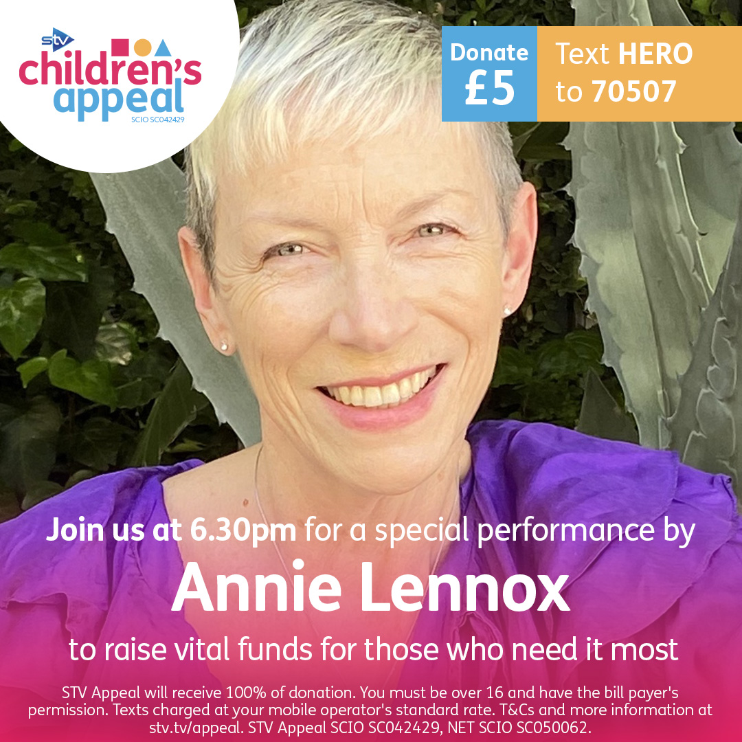 🎹 The incredible @AnnieLennox joins us today at 6.30pm for a couple of songs and to tell us why the STV Childrens Appeal is so important to her. Text HERO to 70507 to donate £5 and help those most in need.
