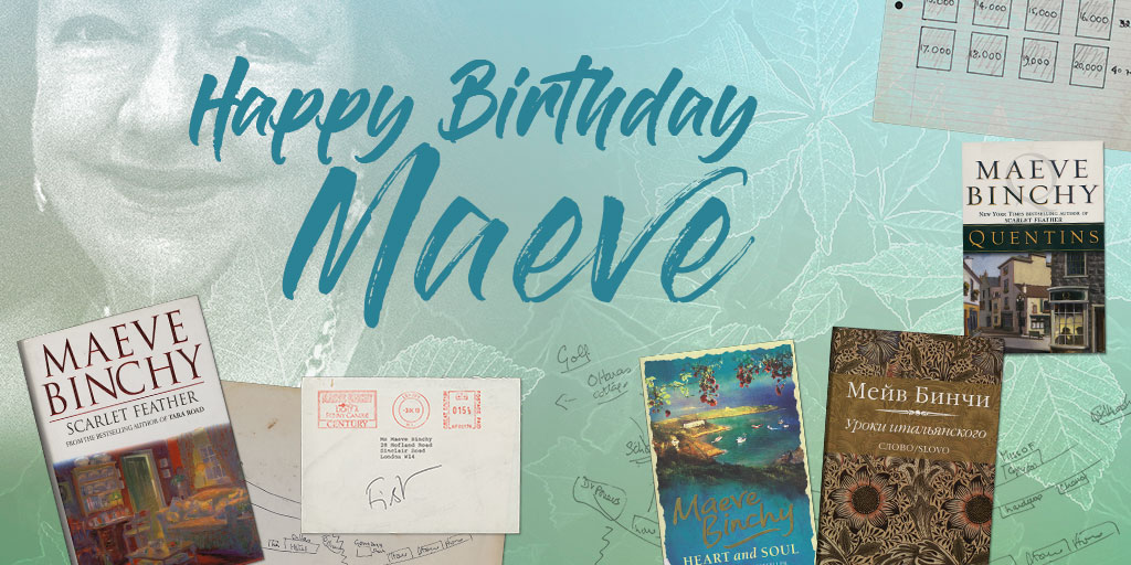 """""""There can't have been laughter every single day. But that's how I remember it."""" -Maeve Binchy on her time @ucddublin. Happy Birthday🎈to one of UCDs most famous & beloved alumna. @ucdspeccoll archival holdings include drafts of her novels, plays & more. ucd.ie/specialcollect…"""