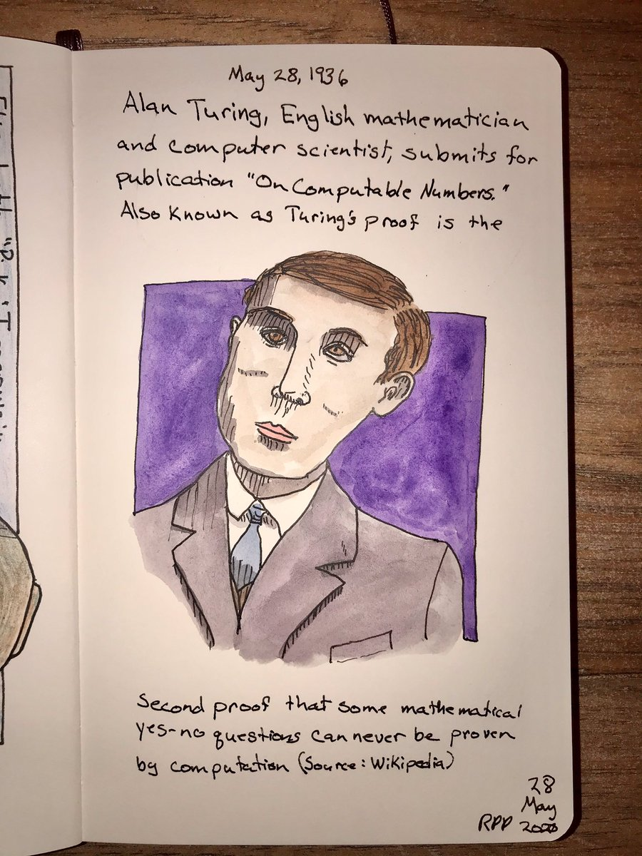 """On May 28, 1936, English mathematician and computer scientist Alan Turing submitted his """"On Computable Numbers"""" for publication. Pen: LAMY Safari Watercolor: Field Artist  Sketchbook: Moleskine  #HistoryAlive #ColorEludesMe #RussPetcoffpic.twitter.com/kZdUzfP6WL"""
