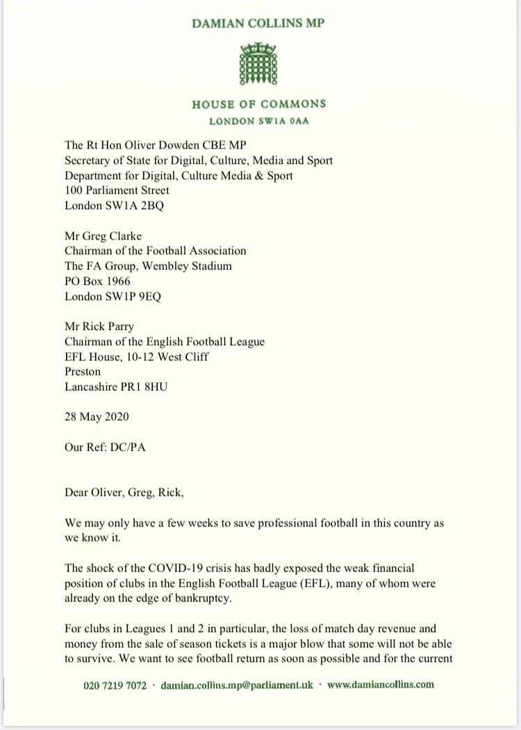 """""""We may only have a few weeks to save professional football in this country as we know it"""" Letter backed by 18MPs and 2 ex FA Chairman from @DamianCollins to @OliverDowden , the FA & the EFL calling for urgent talks on football finance based on a six point plan"""