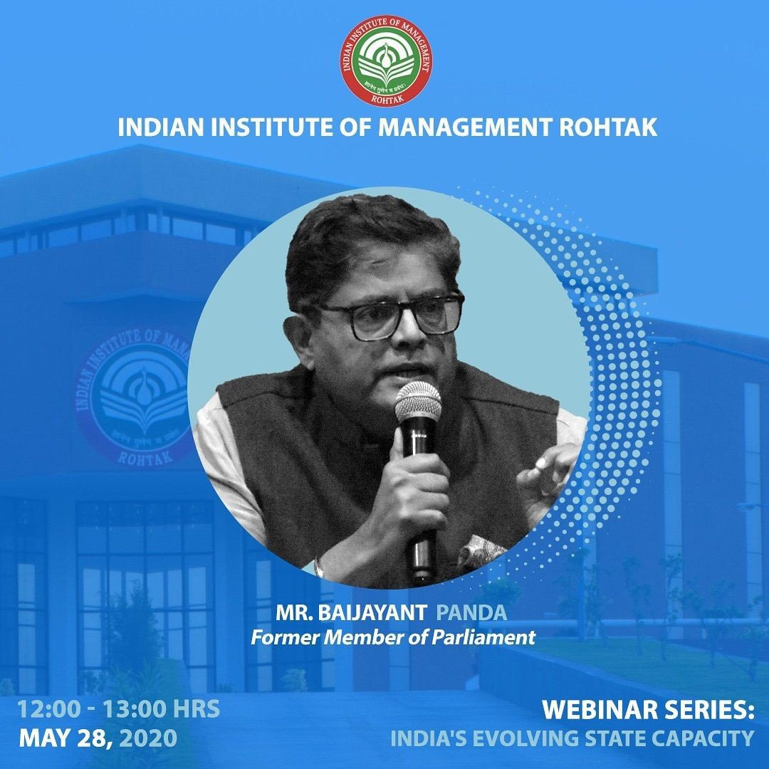 """.@PandaJay addressed a webinar organized by @IIM_Rohtak  on """"India's evolving state capacity."""" Discussions revolved around  #AatmanirbharBharat package, India's #Covid_19 response, India-China relations & foreign policy. Followed by an interesting question answer round. https://t.co/XPFyRSox0d"""
