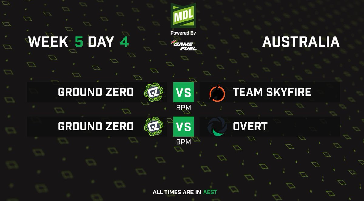 Live with the ESEA Mountain Dew League S12 Australia Thursday Action with: @GroundZeroOCE  v @TeamSKF  at 8pm AEST @GroundZeroOCE  v @OvertGGs  at 9pm AEST  This double blockbuster will be live on https://t.co/OvXaxlOl1X #esea #mountaindew #csgo #esports https://t.co/BrYk4h7Z5c