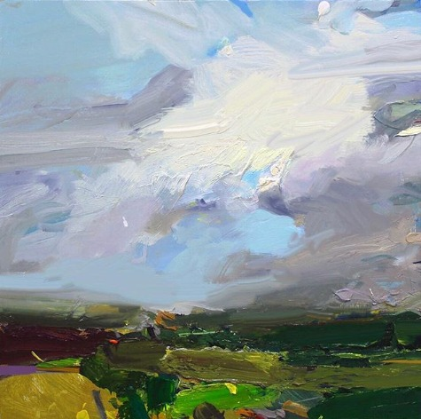 """South Coast With Yellow Cloud"", 61X61cm, oil on board. (Kindly click to expand the image. Thanks.)  #artoftheday #abstractexpressionist #artgallerypic.twitter.com/3lNQLCI6Q8"