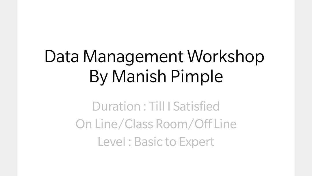 One year Diploma in Database Management and Data Science. For enrollment and counselling call or whatsapp : Manish Pimple +91 8999372109 #nagpur #pune #banglore #chennai #london #usa #canada #mumbai #delhi #kolkata #thane #navi mumbai #dba #cloud #etl #oracle #teradata https://t.co/VMmVniCL5S