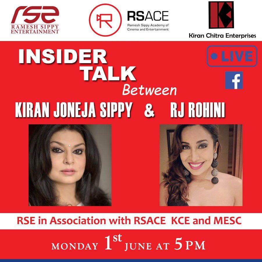 "Join us for the second Facebook Live Episode of ""Insider Talk Session"" on 1st June @5pm with @rotalks  .  . https://www.facebook.com/kiran.joneja .  #Insidertalk #RSACE #RSE #indiancinema #indianfilmindustry #IndianFilm #indianfilmhistory #Indianfilmproject  #livepic.twitter.com/vWgm8Rnycj"