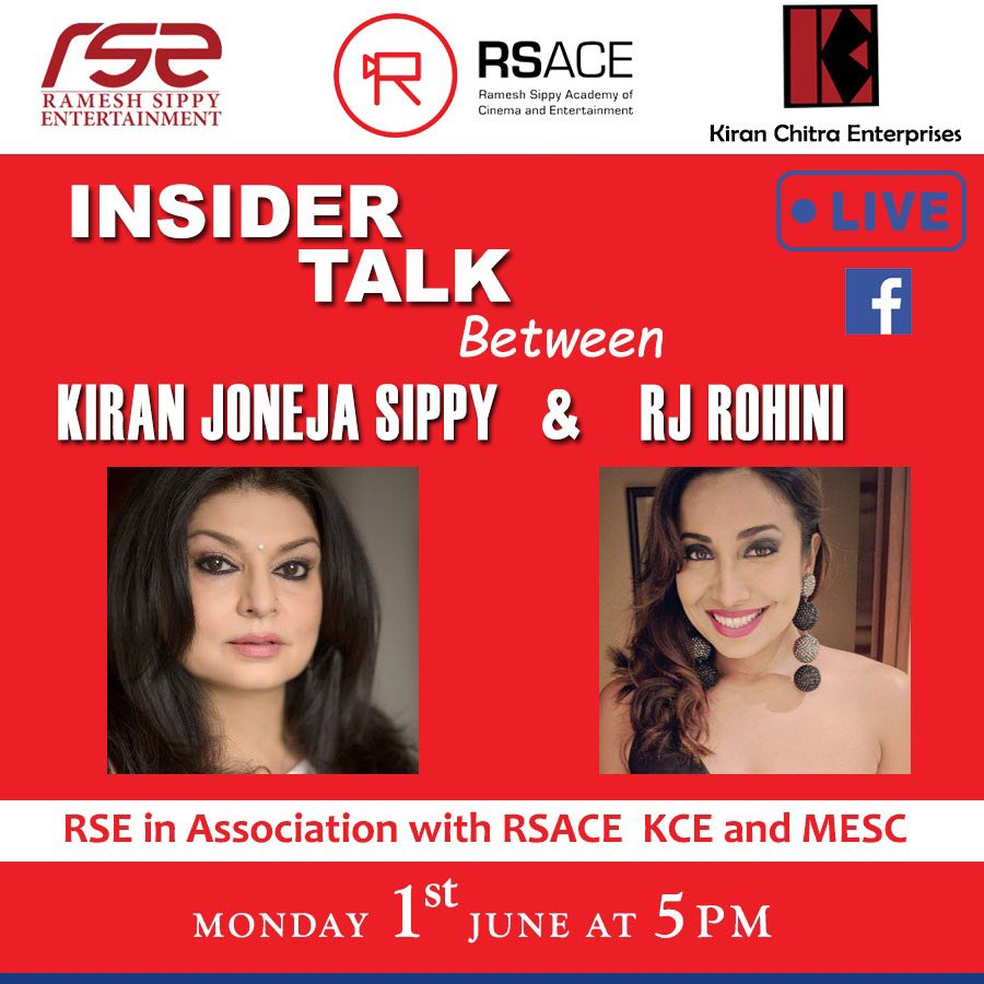 """Join us for the second Facebook Live Episode of """"Insider Talk Session"""" on 1st June @5pm with @rotalks  .  https://www.facebook.com/kiran.joneja  .  #Insidertalk #RSACE #RSE #indiancinema #indianfilmindustry #IndianFilm #indianfilmhistory #Indianfilmproject  #livepic.twitter.com/XgBfGMb0tc"""