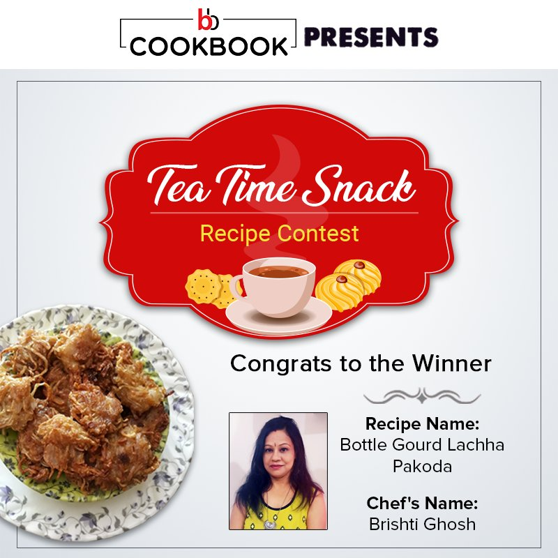 """Congratulations to Brishti Ghosh on winning our """"Tea Time Snack"""" recipe contest! Check out her winning recipe of Bottle Gourd Lachha Pakoda on our bbCookbook here - https://t.co/MH2fWhP1MW  #bigbasket #bbCookbook #TeaTime #Snacks #Cooking #Recipes #QuickRecipes #TeaLovers https://t.co/69oc42ZNCn"""