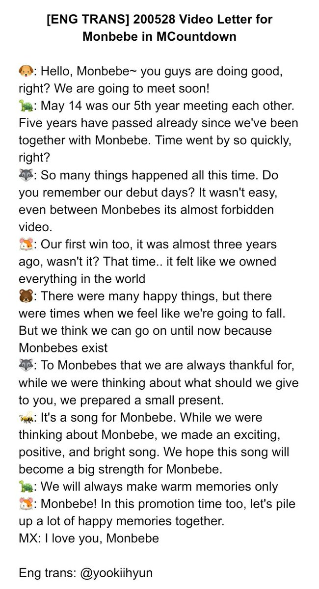 [ENG TRANS] 200528 Video Letter for Monbebe in MCountdown <br>http://pic.twitter.com/hWHWYQmR1x