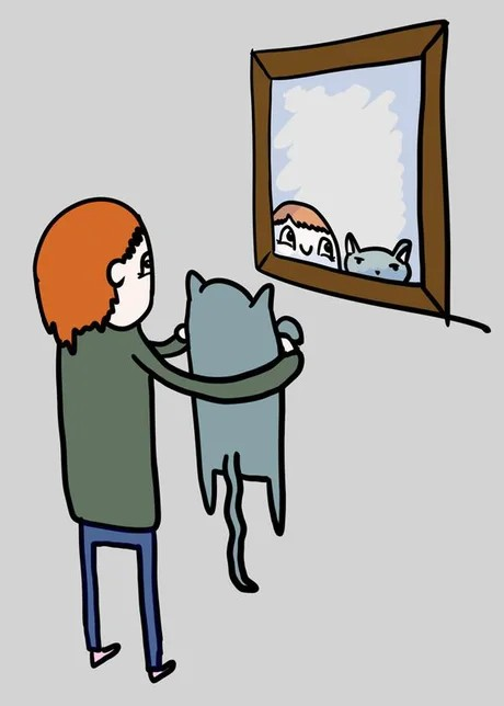 Have you ever bring your pet up to a mirror and you like 'that's you'