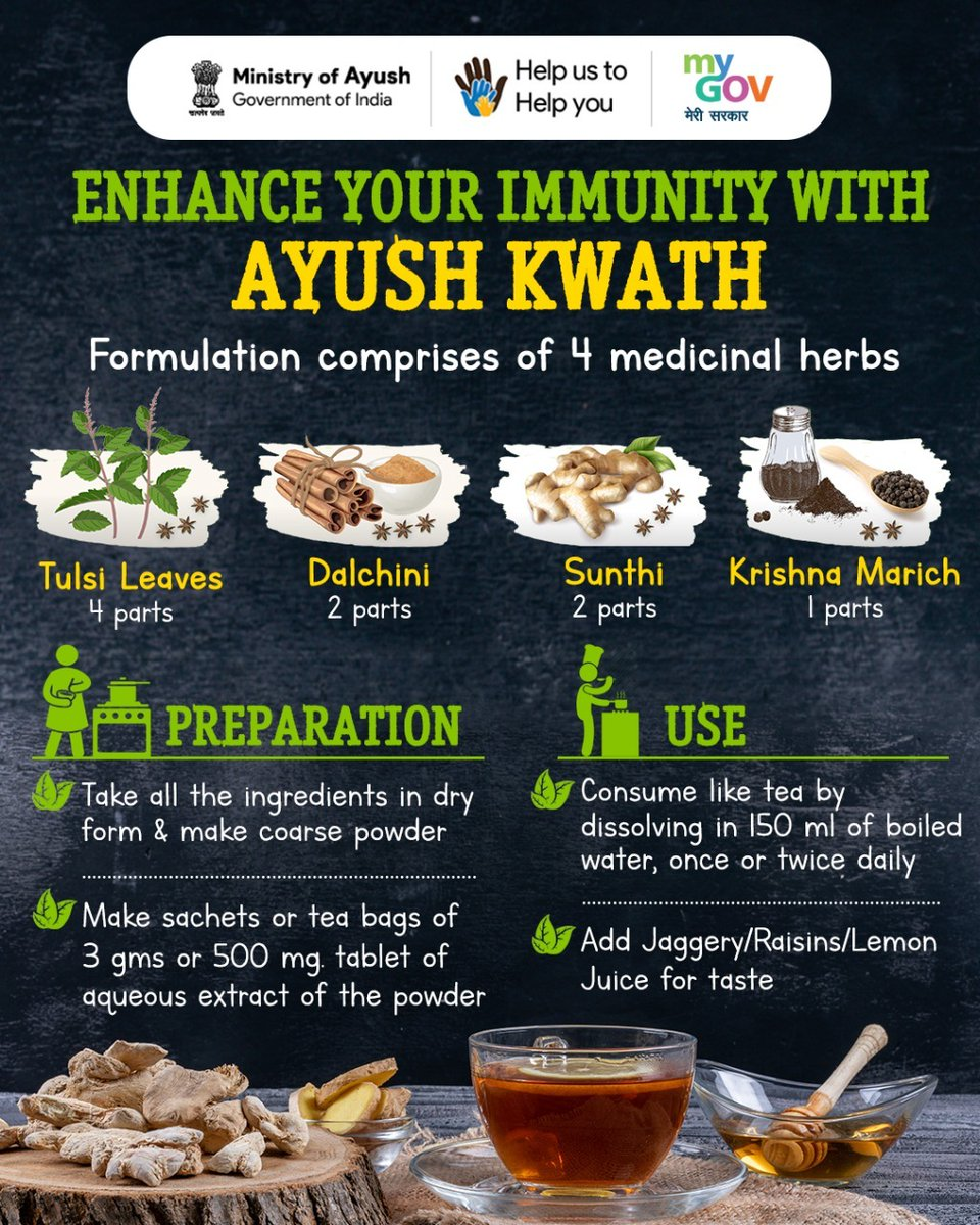 #Boost your immunity with guidelines from Ayush Ministry Drink Herbal tea /Ayush Kwath made with   #Tulsi leaves #Dalchini/#Cinnamon #Dry Ginger #Black Pepper #Together we can fight COVID19 https://t.co/z7JcZIIjfS https://t.co/rfUGuMbp86