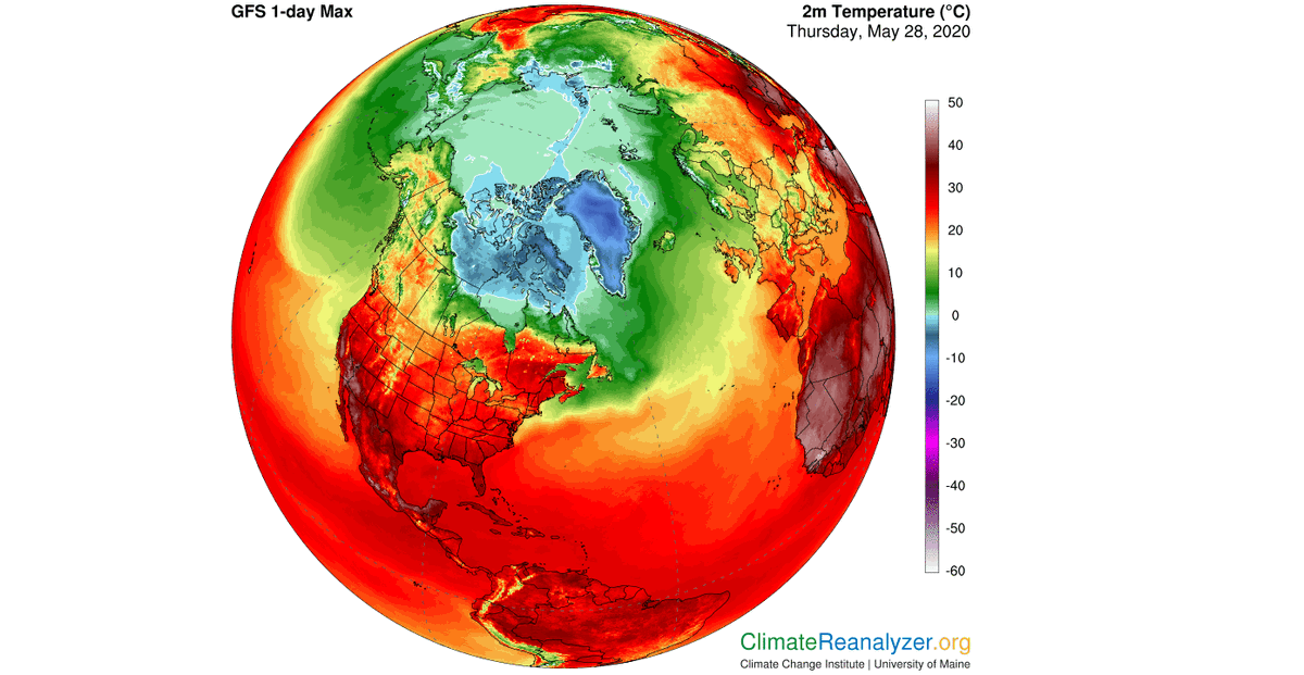 Entire Arctic ocean reached above freezing yesterday