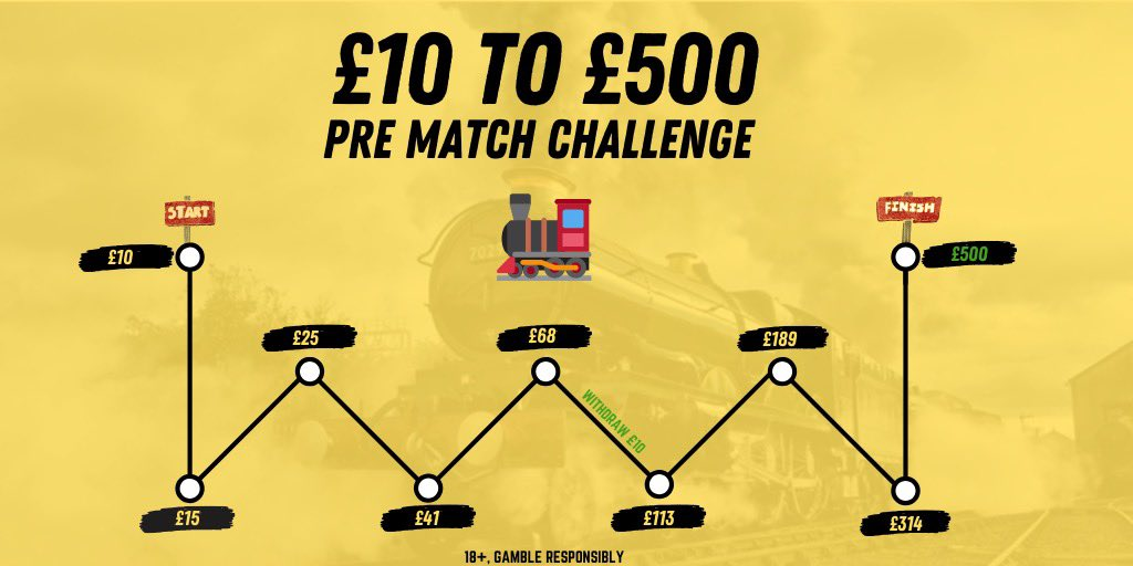 🚂 £10 TO £500 CHALLENGE 𝗟𝗶𝗸𝗲 ♥️ 𝗶𝗳 𝘆𝗼𝘂 𝗮𝗿𝗲 𝗷𝗼𝗶𝗻𝗶𝗻𝗴 𝗶𝗻 🎁 8 bets needed 📈 Average odds of 1.66 📚 All bets explained 📝 Mix of pre-match and in-play 🏦 Money banked on the way 👨🏼‍✈️ THE TRAIN IS BACK, CHOO CHOO!!!