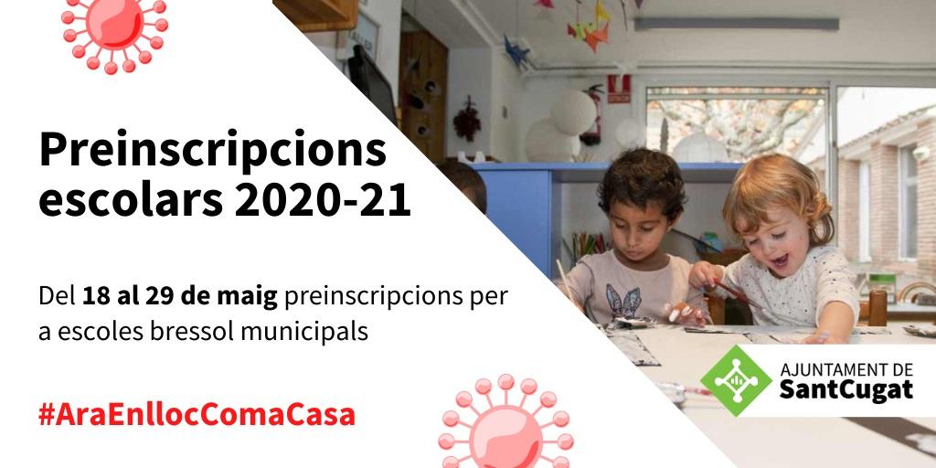 🎒ATENCIÓ!  Les preinscripcions per a les escoles bressol #SantCugat finalitzen demà divendres 29 de maig  📲Via telemàtica (opció preferent)  Presencialment a l'OME del 27 al 29 de maig (cita prèvia i només per qui no pugui per internet)  ℹ️https://t.co/WXGxn9wnRy   @pgorina1