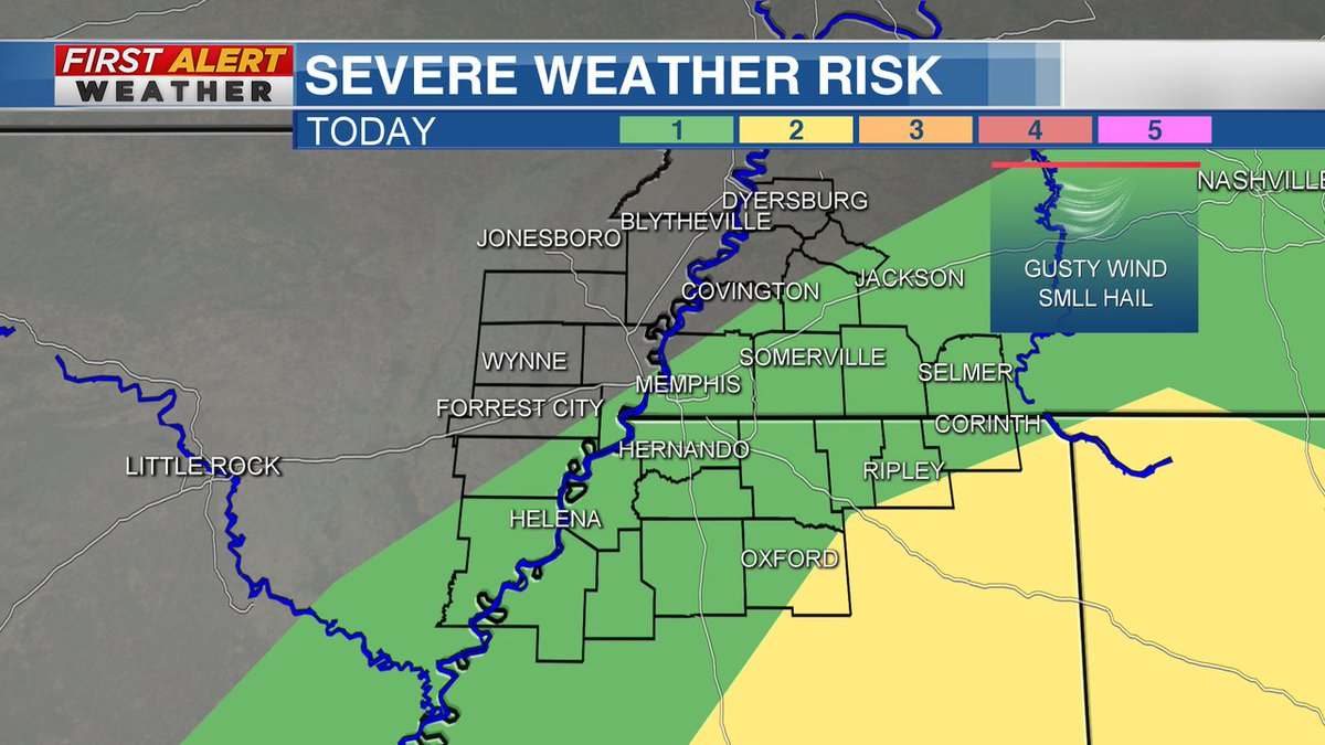 Scattered thunderstorms this afternoon could have strong winds and small hail, especially in northeast Mississippi.