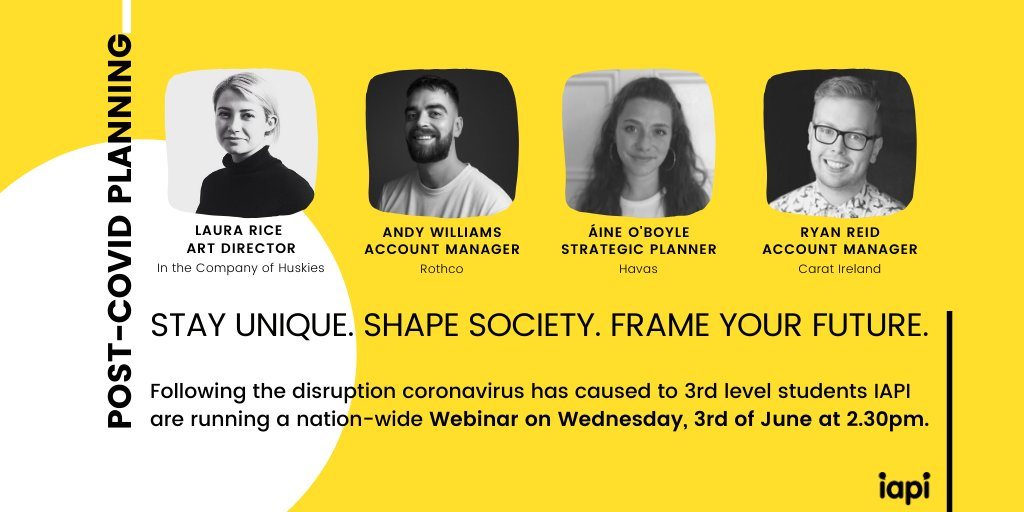 IAPI are aware of the disruption #Covid19 has caused to 3rd level students. We are conscious of the generation of college leavers entering an uncertain jobs market. Our industry panel will present what a working day in advertising looks like. Join in here: https://t.co/veZZfA3G4v https://t.co/ExCd67s1bg