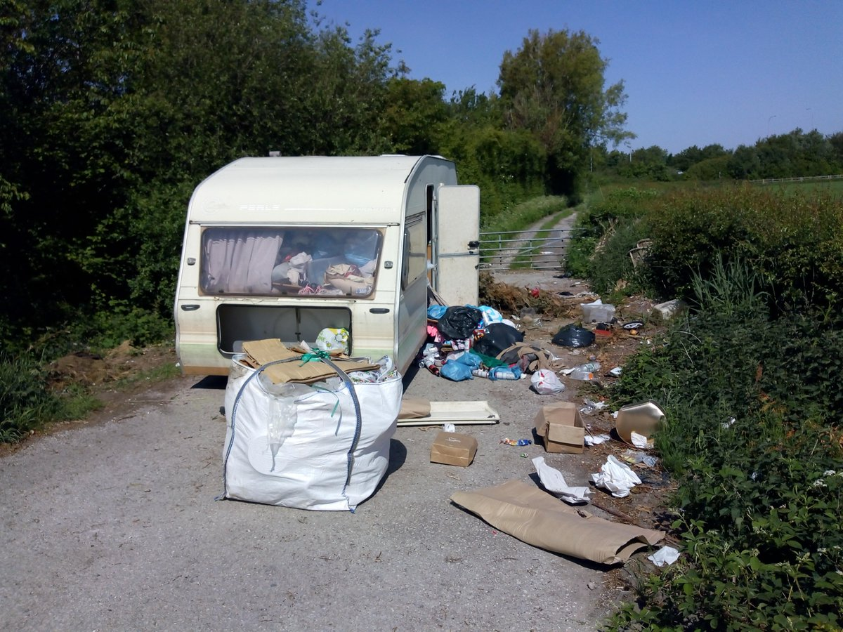Officers are currently at the scene of a fly-tip involving a caravan packed with household waste dumped on Moss Road, Heaton-with-Oxcliffe. Anyone with any information which might help to identify who is responsible is urged to complete our online form at lancaster.gov.uk/fly-tipping