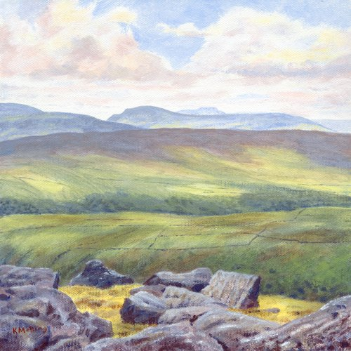 #acrylicpainting Across Wharfedale to Pen-y-Ghent & Ingleborough from Great Whernside (not to be confused with Whernside of the 3 Peaks). #YorkshireDalespic.twitter.com/CQKTFZT7x2