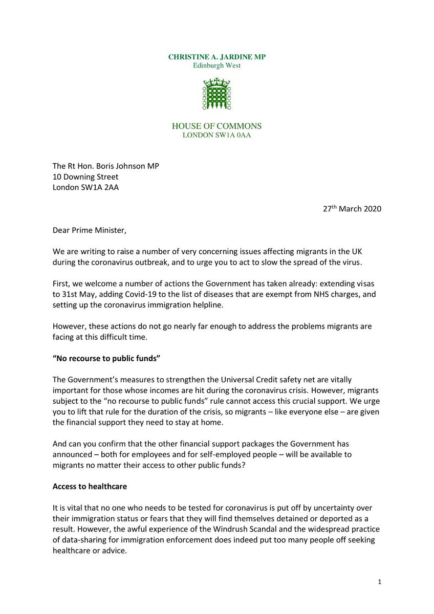 """I wrote, with fellow @LibDems MPs to Boris Johnson 2 months ago urging him to lift the """"no recourse to public funds"""" rule during this crisis. We got a """"no"""" from Priti Patel but nothing from the PM. Maybe he'll finally read it now…"""