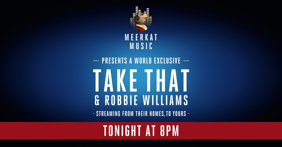 The wait is finally over! Head on over to our Facebook Live or CompareTheMeerkat YouTube channel where #MeerkatMusic proudly presents @Robbiewilliams @GaryBarlow @HowardDonald @OfficialMarkO from their homes, to yours! Show starts at 8pm. #MeerkatMusic https://t.co/ot9MJV1al5 https://t.co/DnXnF8E9qY