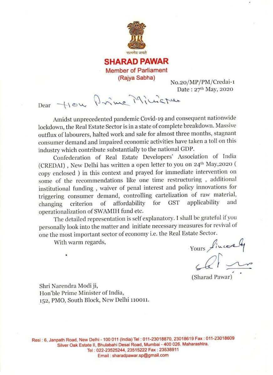 Thank you Sharad Pawar Saaheb for understanding the plight of Real Estate Sector and its contribution to Economy.  <br>http://pic.twitter.com/PSSv1MGJm9