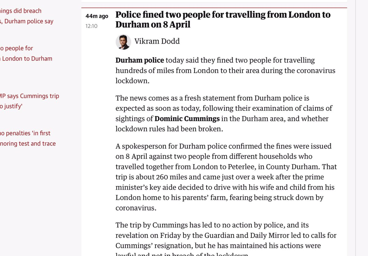 And on Guardian website, Police had already fined two other people for driving from London to Durham