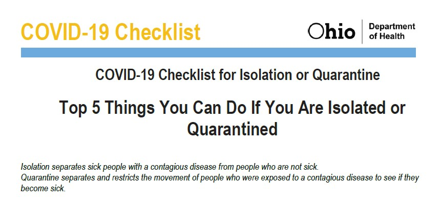 The top five things to do if you're isolated or quarantined: bit.ly/2Ma0Mc4 #InThisTogetherOhio