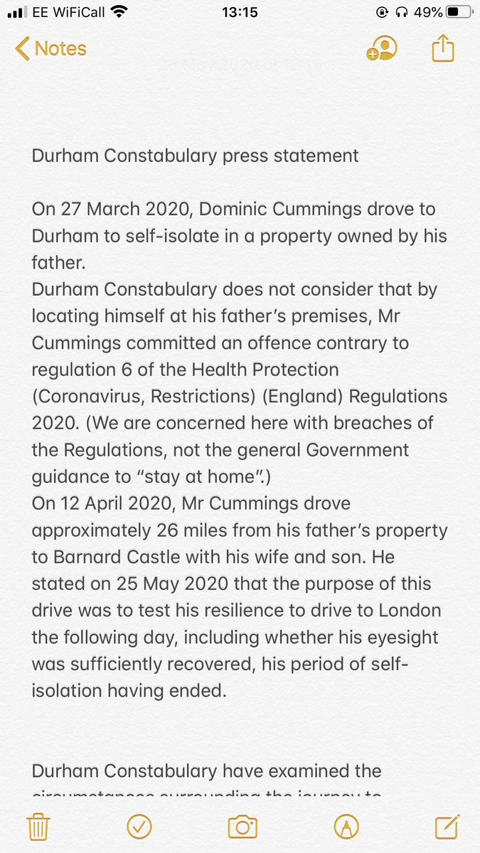 Durham Police statement.  - Concludes DC didn't breach regulations going to Durham  - Barnard Castle might have been a minor breach of regulations and police would have asked Mr Cummings to return back to his address.  - No intention to take further retrospective action https://t.co/4gE7B1aFFW