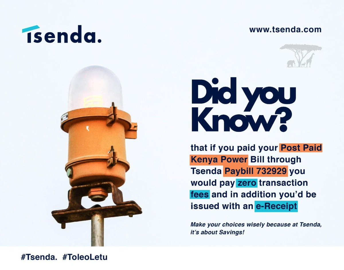 If you pay your KPLC bills through TSENDA paybill 732929 you would pay zero transaction fees and in addition you'd be issued with an e-Receipt #Tsenda @Tsenda_<br>http://pic.twitter.com/GX4ecCxXX8