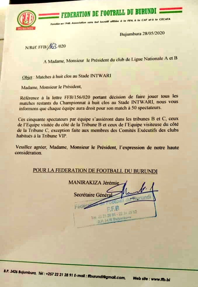 Burundi Football Federation has decided to allow teams playing their games in Stade Intwari to have 50 fans per side.  The other games in other venues are not affected. https://t.co/gcN7GLDsJU