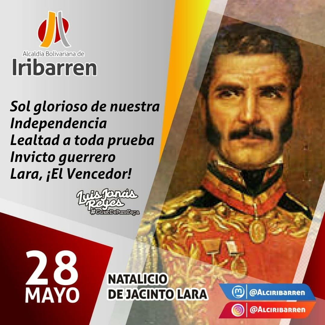 Tal día como hoy #28May de 1778, nace Jacinto Lara: Luz crepuscular que esparció su brillo en Junín y Ayacucho, insigne caroreño, se destacó en batallas bajo el mando de Bolívar y Antonio José de Sucre, victorias que determinaron el rumbo de Independencia. #VenezuelaDefiendeSuOro