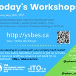 Image for the Tweet beginning: Today's Workshops Thursday May 28, 2020  10am Online