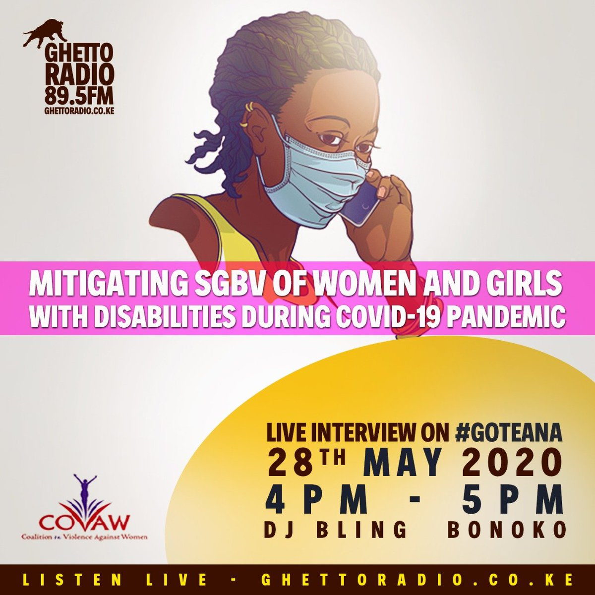 Issues gani zinalead to sexual and gender based violence mtaani during hii time ya #COVID19KE pandemic? Is it reduced income, stress, lack of jobs? Tune in #Goteana tubonge @covaw crew