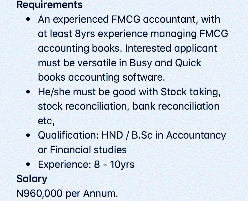 FMCG Accountant at Padoserve Limited - Portharcourt, Rivers . 12 June, 2020 . Salary N960,000 per Annum. . Interested and qualified candidates should send their CV and scanned Passport to:career@padoserve.com using the Job Title as the subject of the mail. <br>http://pic.twitter.com/NDPI6FSA3O